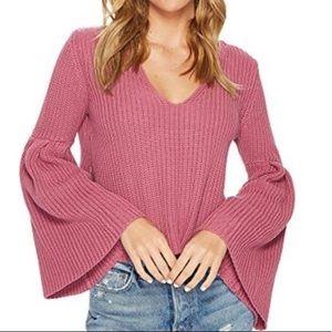 V-neck bell sleeve sweater